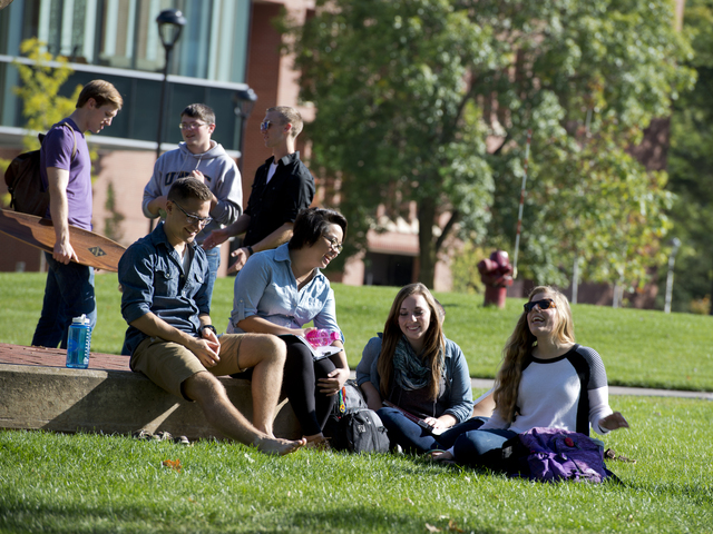 Students outside.