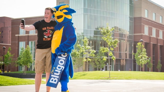 Student with a mascot