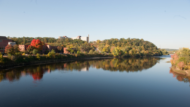 View of the river and campus from the bridge.