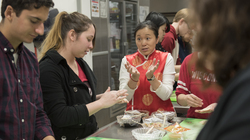 Chinese language students make dumplings to celebrate the Chinese New Year.