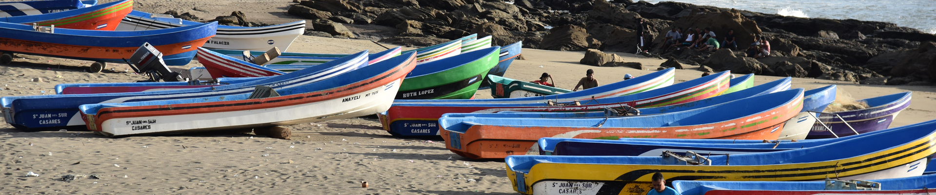 boats on the beach in Nicaragua