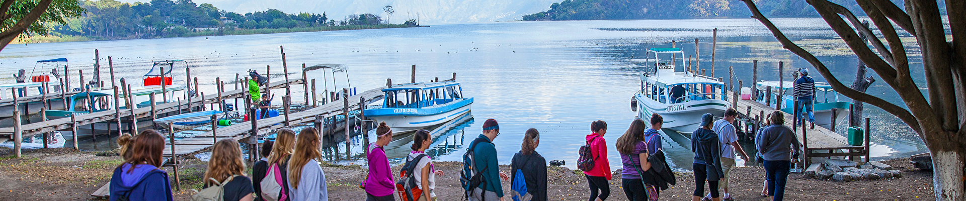 Students boarding boat in Guatemalan village