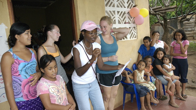 Rose MArie Avin and students in Nicaragua, 2014