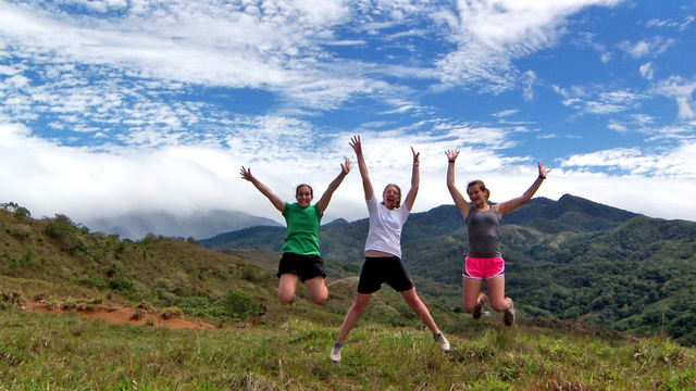 Students in Latin America jumping for joy