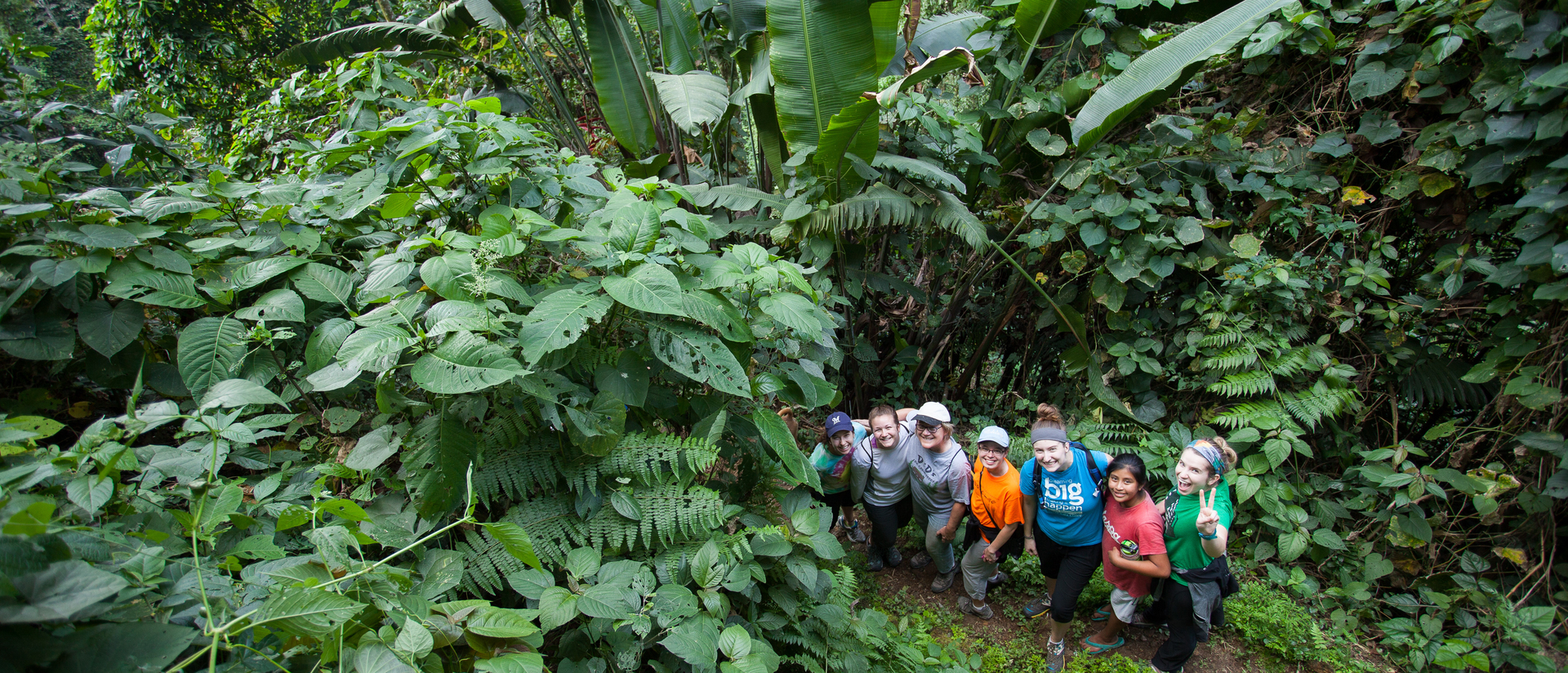 Students in the jungle in Guatemala on cultural immersion experience.