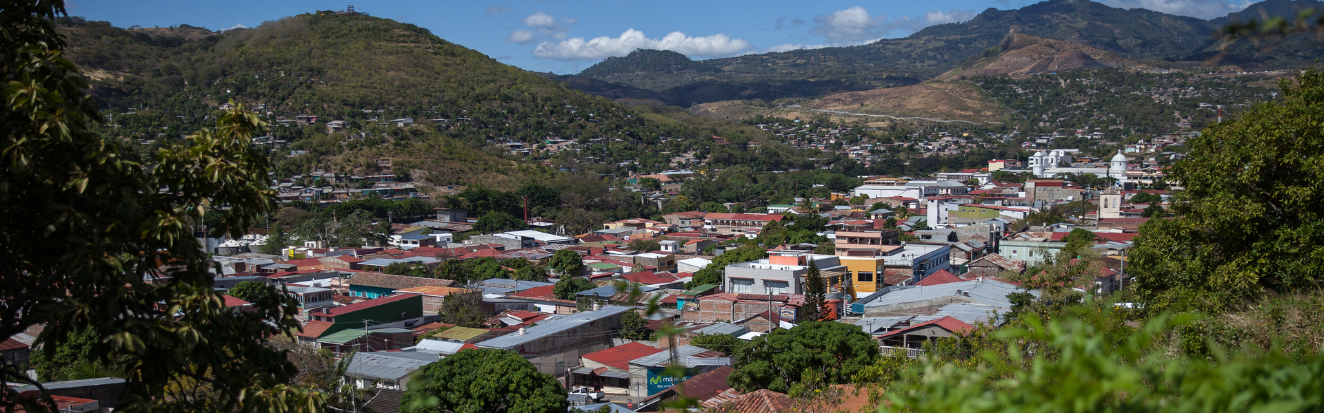 Looking down from a hillside at a city in Nicaragua