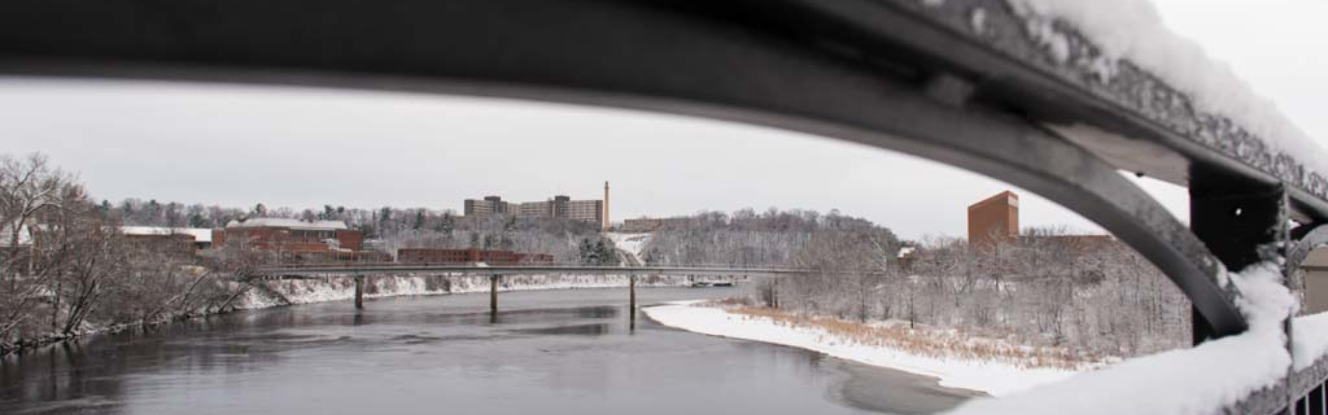 Campus winter scene from Water Street bridge