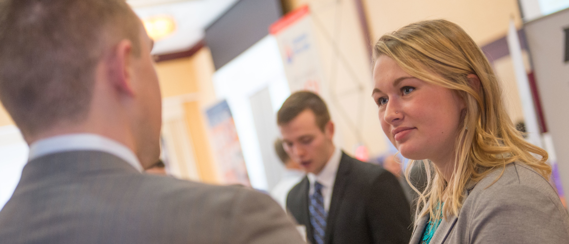 Student talks with an employer at UW-Eau Claire's Career Conference