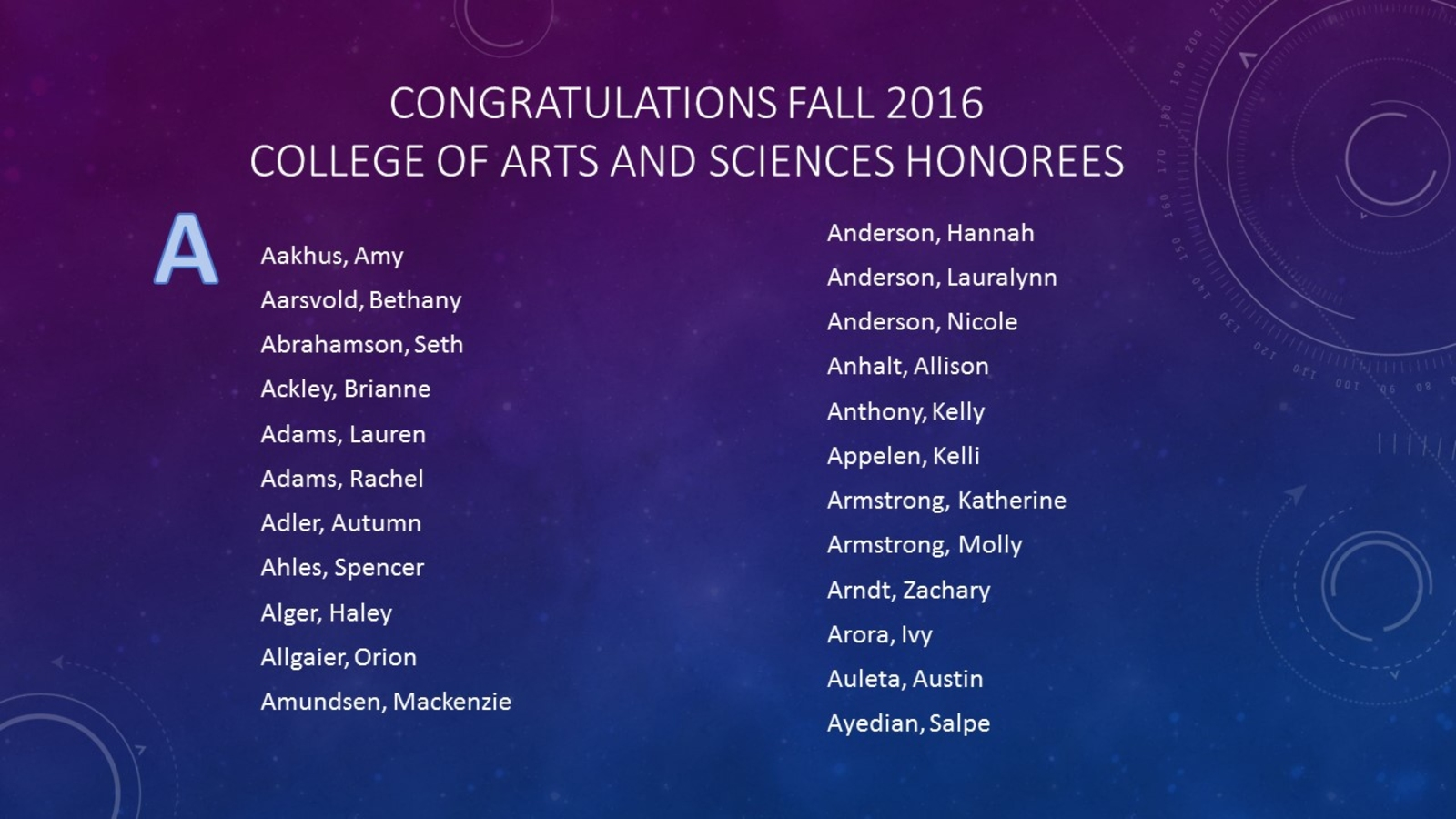 Dean's List Fall 2016 of Recipients with the Last Name starting with A