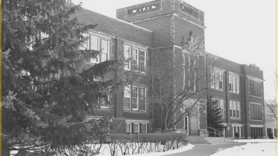 Schofield Hall with Dean's List writing overlay