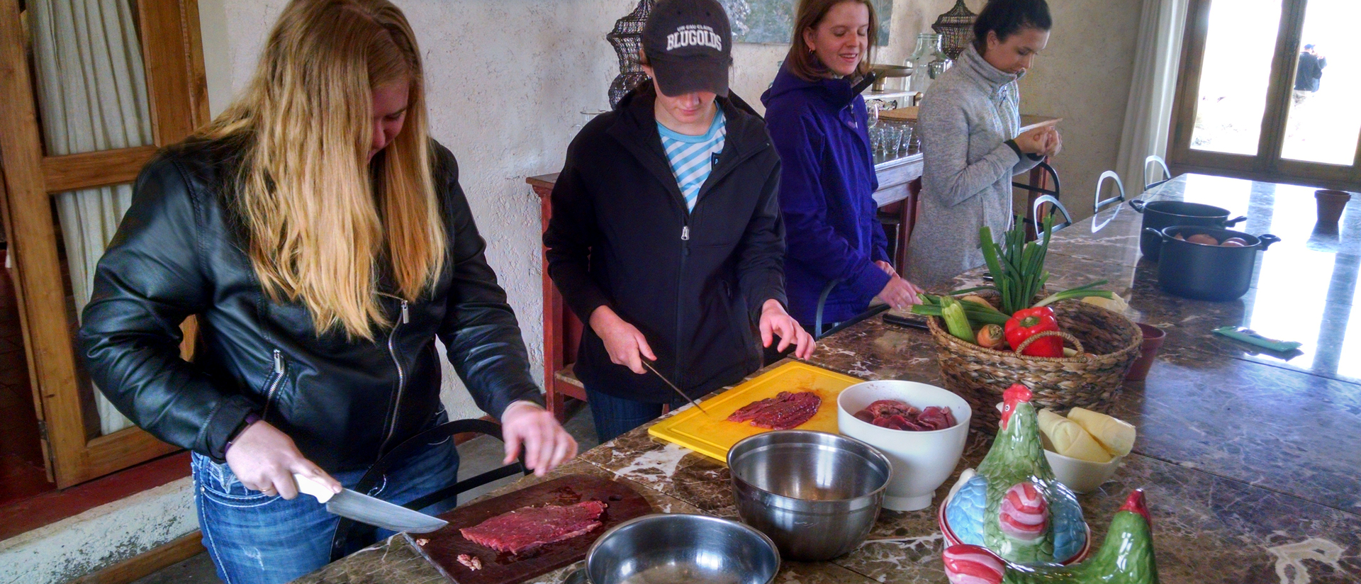 Students in cooking class in Argentina