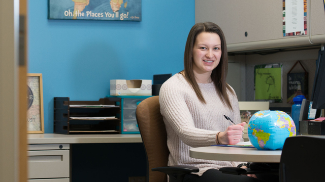 Alumna Courtney Brost now working as study abroad coordinator at the Center for International Education