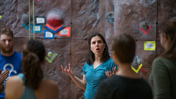Dr. Miller with her French 430 students at the climbing wall.