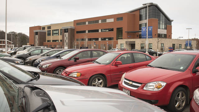 cars parked in UW-Eau Claire Phillips lot