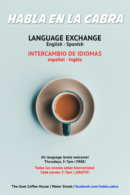 Habla en la Cabra poster, coffee shop gatherings for speaking Spanish