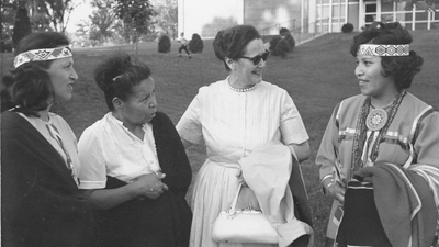 Veda Stone and students on campus, 1960's.