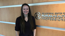 Jenna Vater, '12 AIS and public history, at her workplace in Illinois.