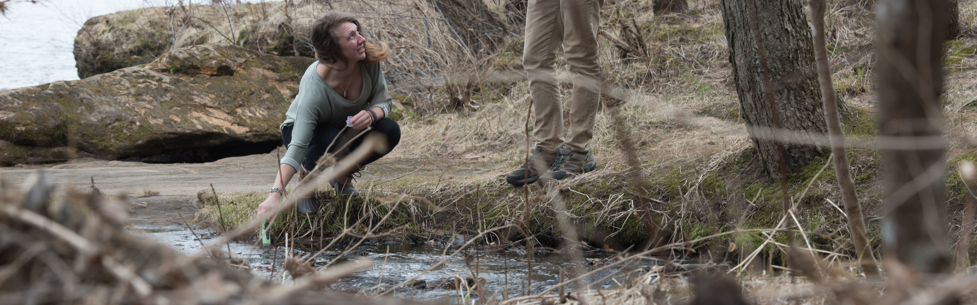 UW-Eau Claire student researchers Samantha Bartnik and Adam Wiest