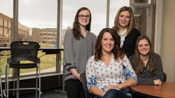 Blugolds (from left) Brittany Martin, Stephanie Little, Stephanie Born and Rachel Martell are among the numerous UW-Eau Claire students who have jobs lined up before graduation.