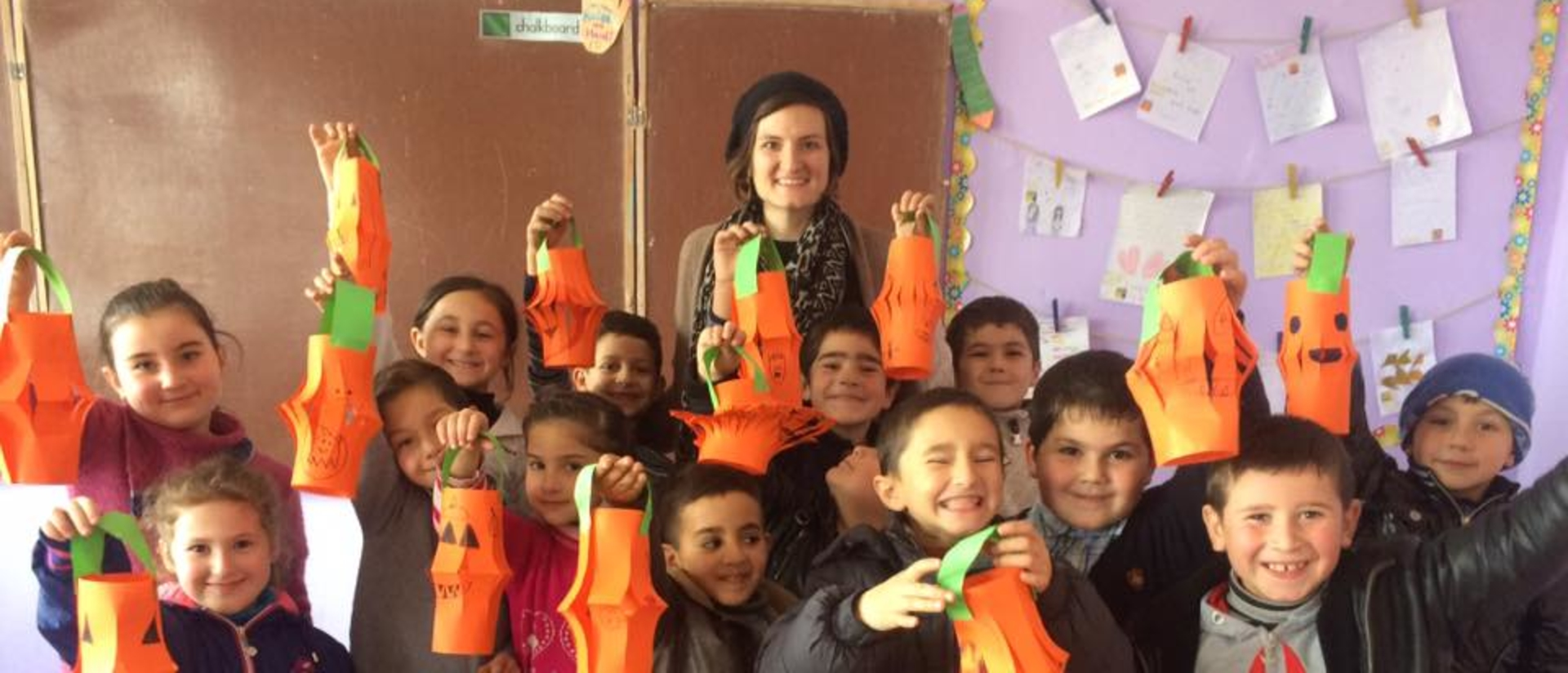 Courtney Ostert celebrating Halloween with students in the Republic of Georgia.
