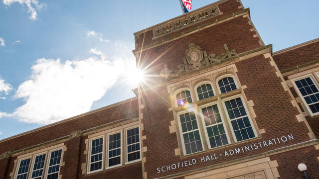Sun shines on Schofield Hall
