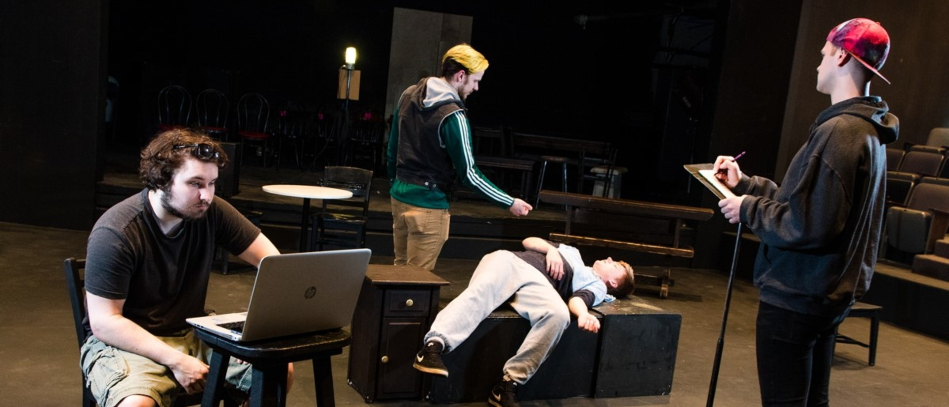 UWEC students rehearsing Invisible Truth performance.