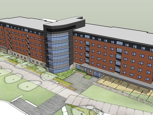 Rendering of new campus housing option.