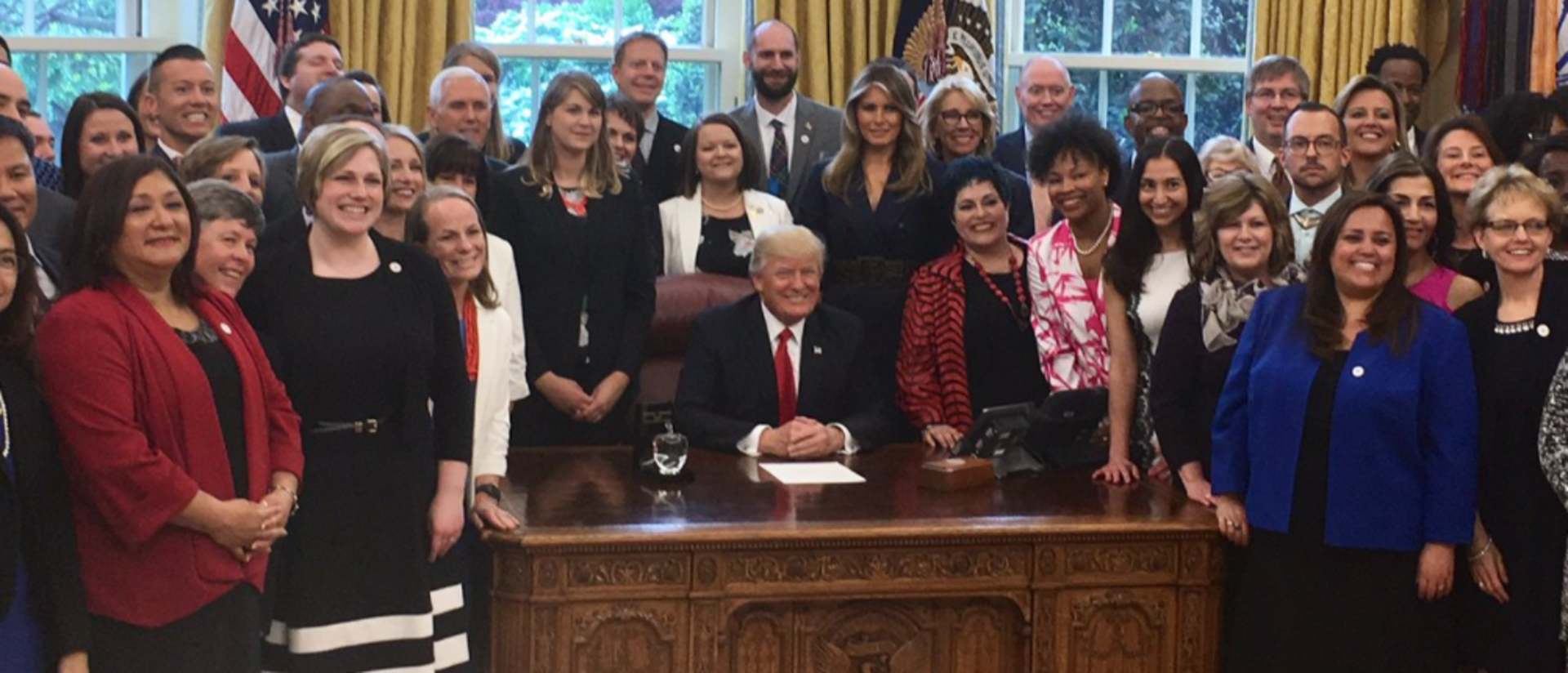Chris Gleason and other state Teacher of the Year winners in the Oval Office.