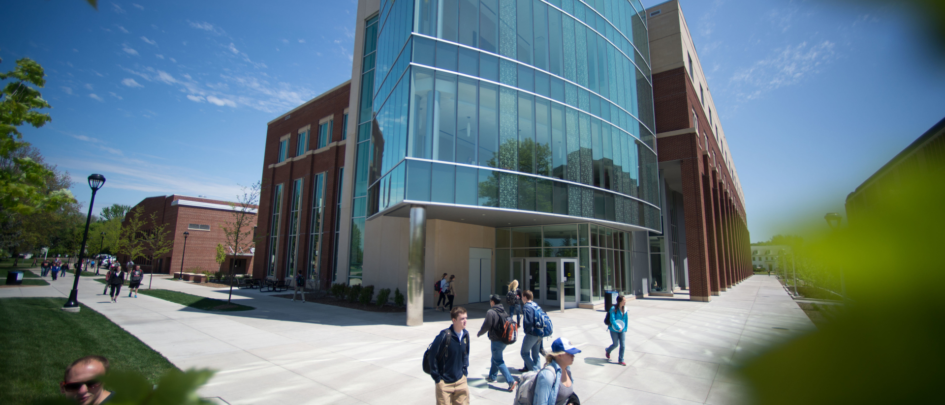 Students walking in front of Centennial Hall