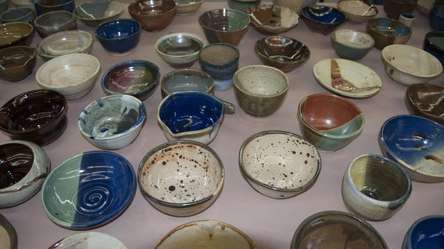 Student created bowls for Empty Bowls fundraiser