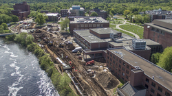 Aerial photo of UW-Eau Claire Garfield Avenue redevelopment project, May 24, 2017