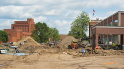 Construction work along Garfield Avenue at UW-Eau Claire, June 30, 2017