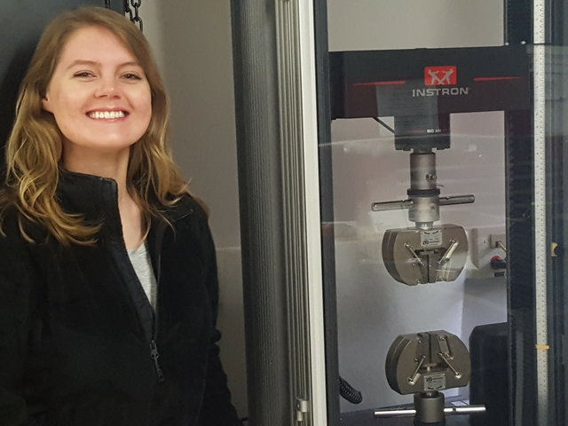 Sarah Sortedahl, research student in Materials Science, in the lab