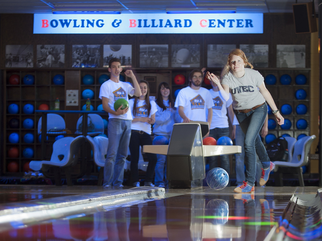 Students bowling in Hilltop Center