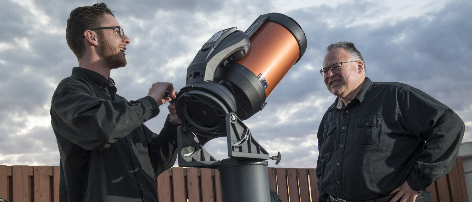 Dr. Paul Thomas (right) will travel to Missouri to experience the Aug. 21 total solar eclipse. UW-Eau Claire will host a viewing event on campus, helping people safely view the partial eclipse.
