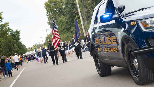 Homecoming parade, police vehicle