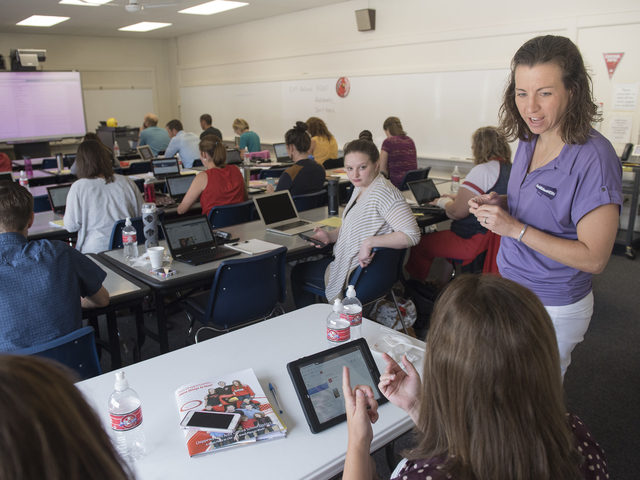 Andrea Gribble working with CHippewa Falls teachers