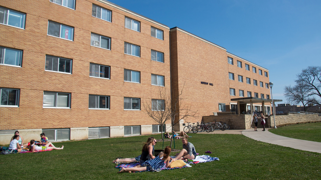 Murray Hall with students outside of it at UW-Eau Claire