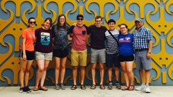 Blugolds (from left) Maggie St. Ores, Jenna Washetas, Leah Wagner, Ian Harvatine, Sam Rossmiller, Sebastian Torres (a Memorial High School student), Elizabeth Davis and Dr. Eric Torres spent time in Peru as part of a research project.