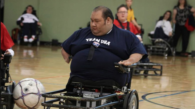 Pete Winslow playing wheelchair soccer