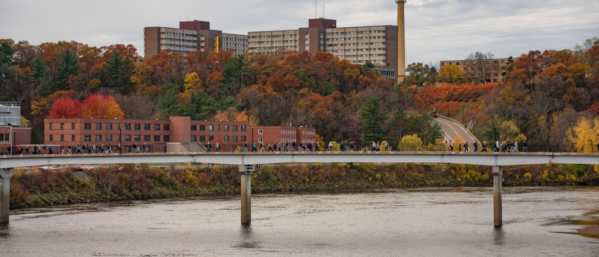 UW-Eau Claire campus on a beautiful fall day