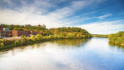 UW-Eau Claire campus and the river in fall colors