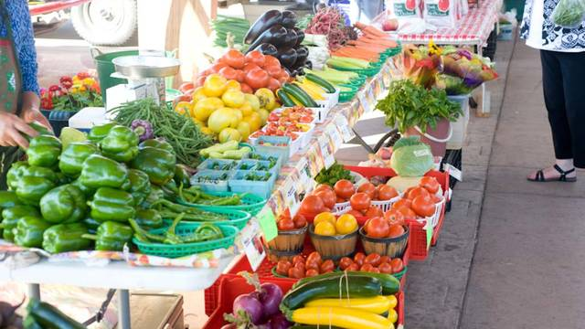 A display of veggies at the Eau Claire Farmers Market