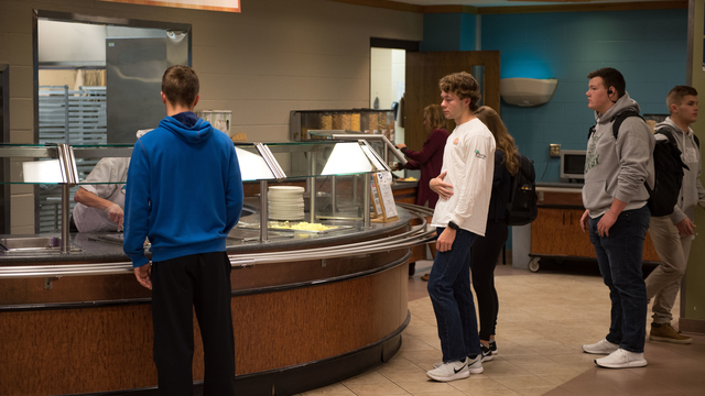 Students standing in line at Riverview Cafe