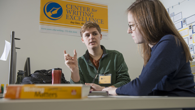 Student and tutor in the Center for Writing Excellence
