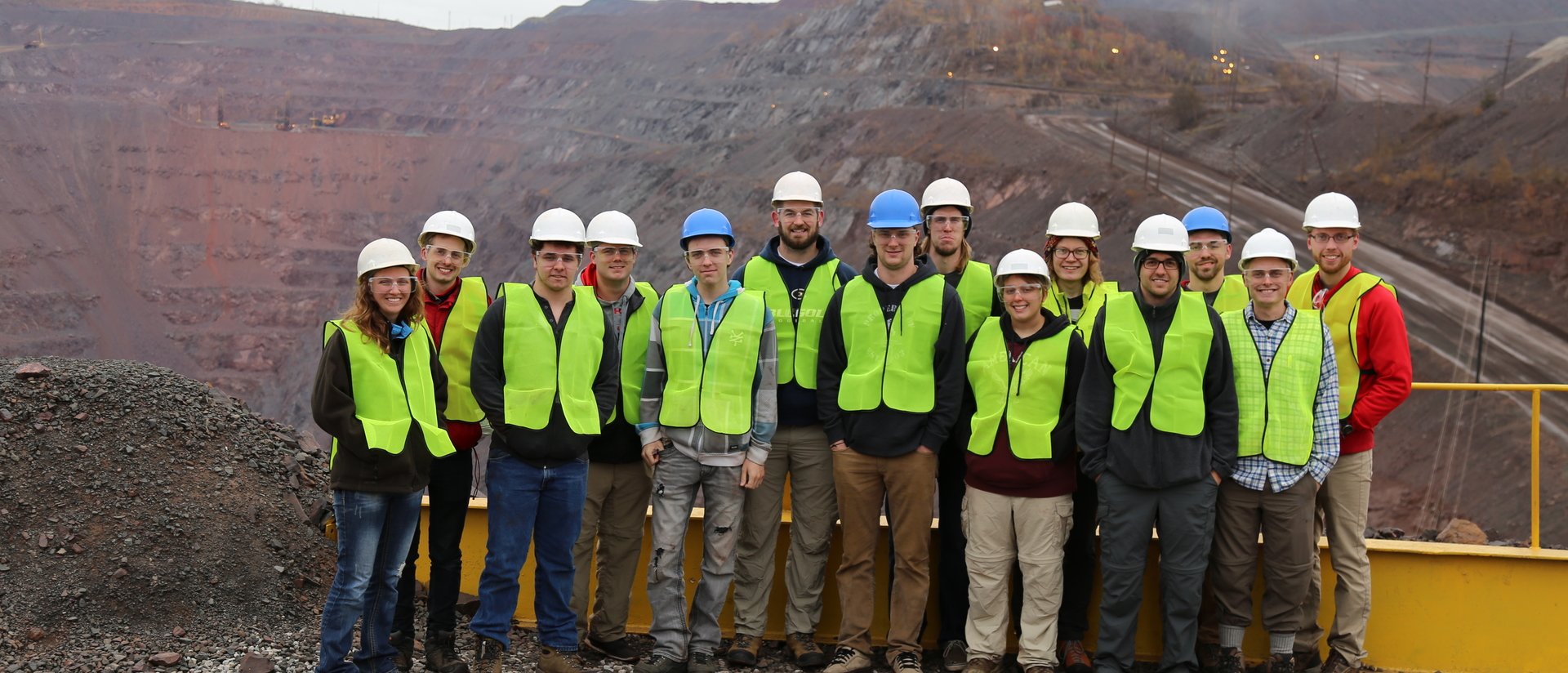 Geology student group shot at mine site