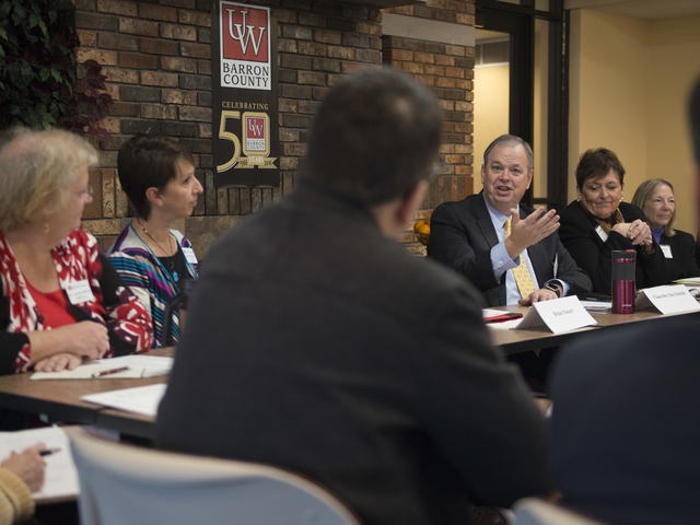 Chancellor during visit to UW-Barron County