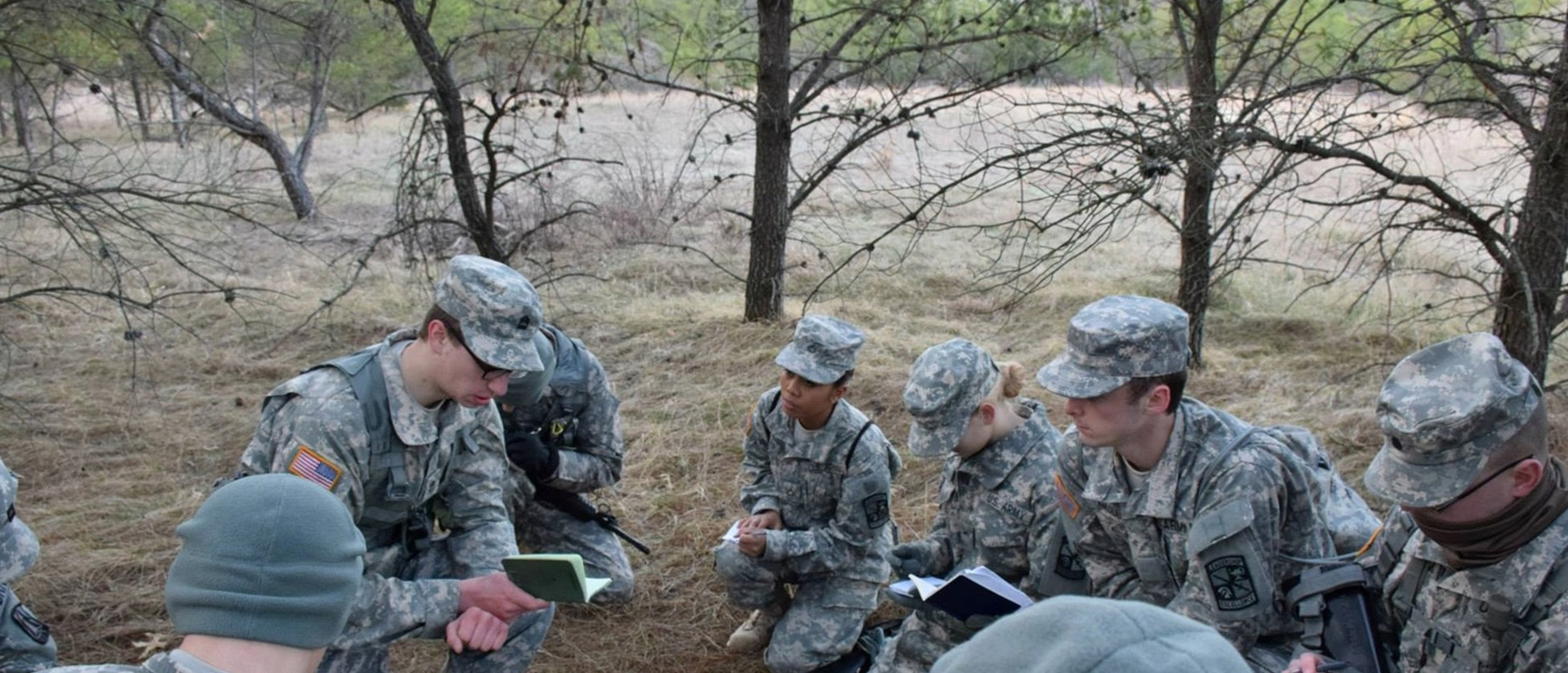 ROTC students training in the field