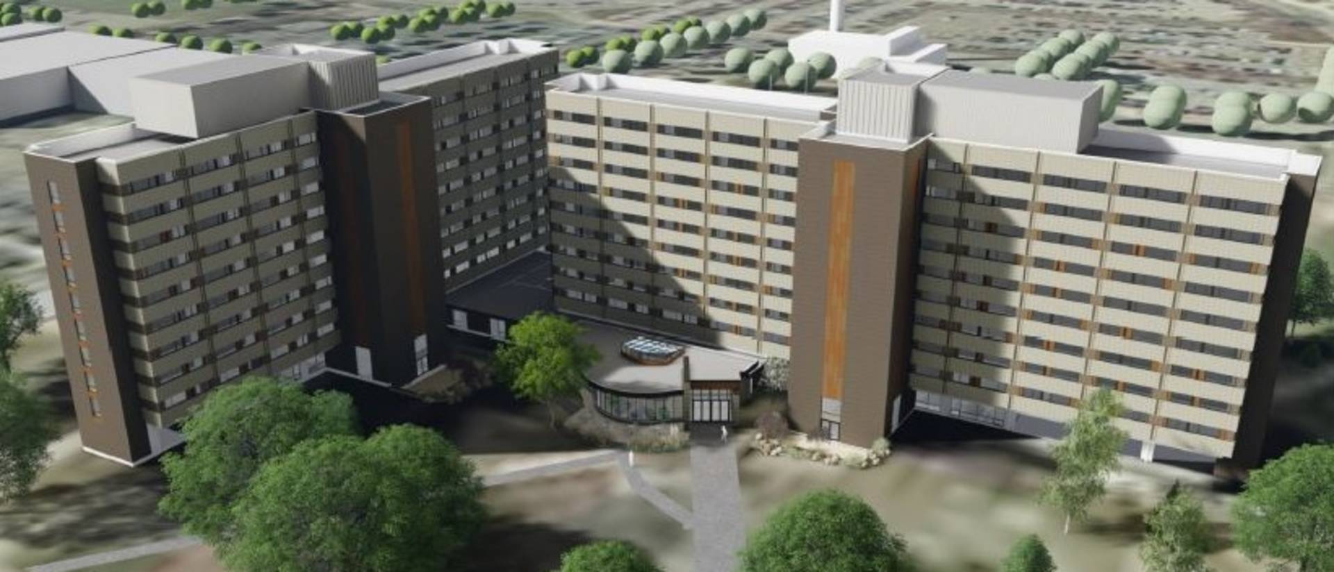 Architect rendering of Towers Hall renovation