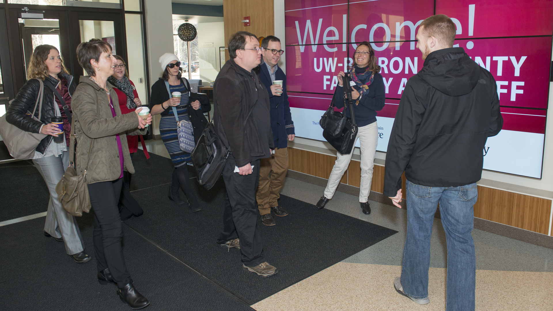 UW-Barron County visitors on campus on Nov. 30.